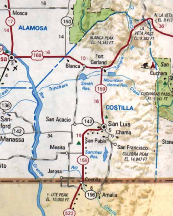Costilla County Colorado Maps - Colorado road map